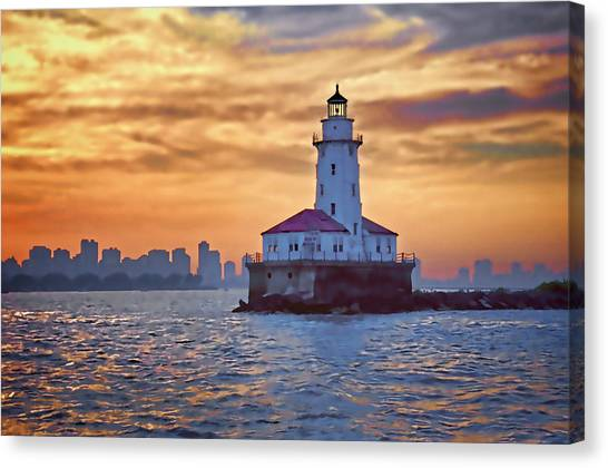 Chicago Lighthouse Impression Canvas Print