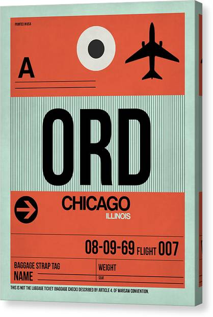 Cities Canvas Print - Chicago Luggage Poster 2 by Naxart Studio