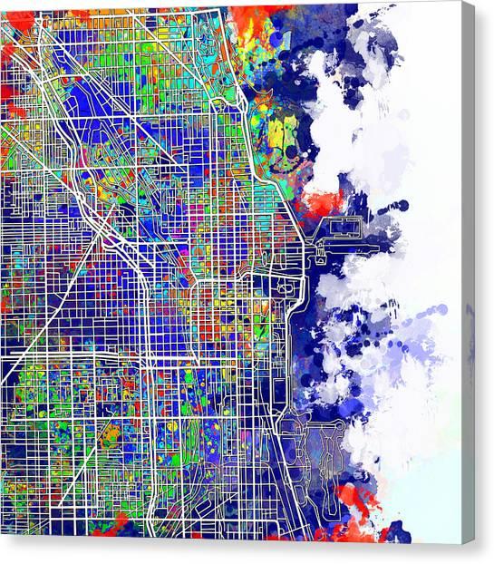 Vintage Chicago Canvas Print - Chicago Map Color Splash by Bekim Art