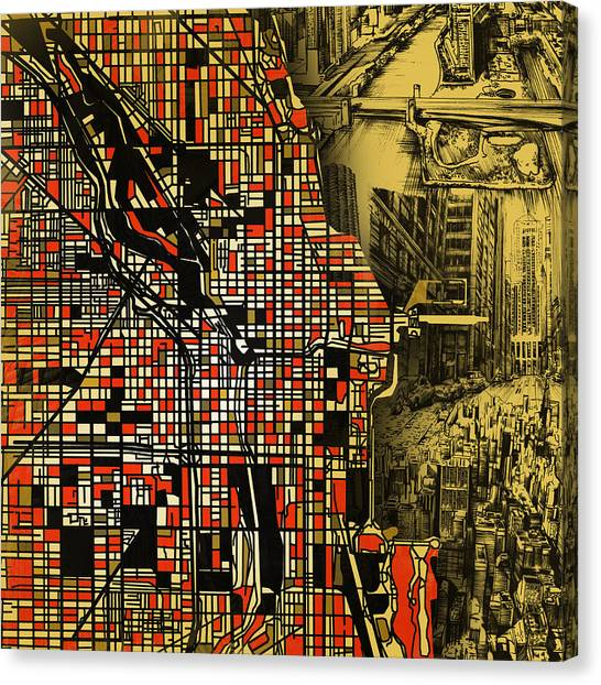 Vintage Chicago Canvas Print - Chicago Map Drawing Collage 2 by Bekim Art