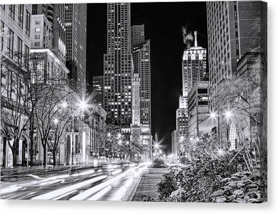 Chicago Michigan Avenue Light Streak Black And White Canvas Print