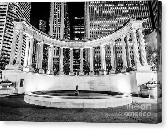Chicago Black White Canvas Print - Chicago Millennium Monument Black And White Picture by Paul Velgos