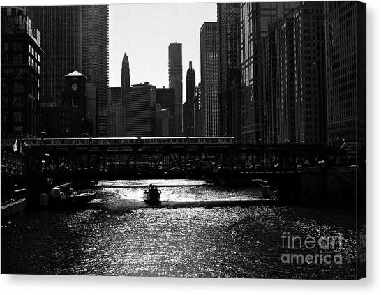 Chicago Morning Commute - Monochrome Canvas Print