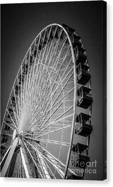 Navy pier ferris wheel canvas print chicago navy pier ferris wheel in black and white