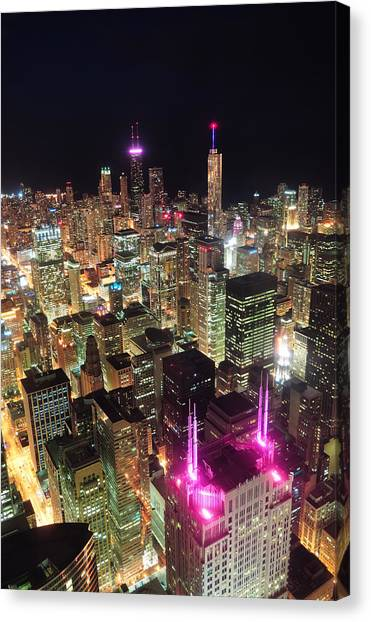 Chicago Night Aerial View Canvas Print