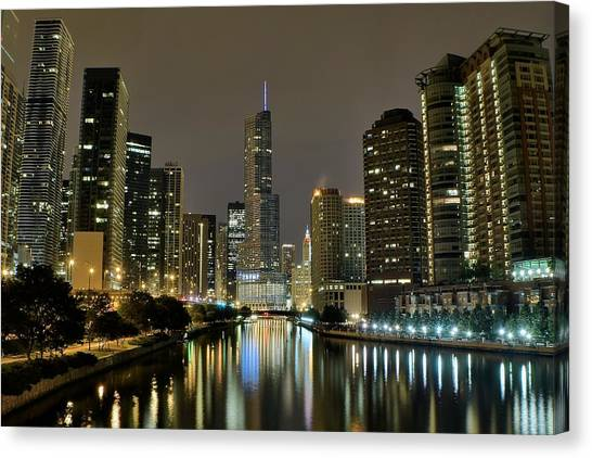 Chicago Fire Canvas Print - Chicago Night River View by Frozen in Time Fine Art Photography