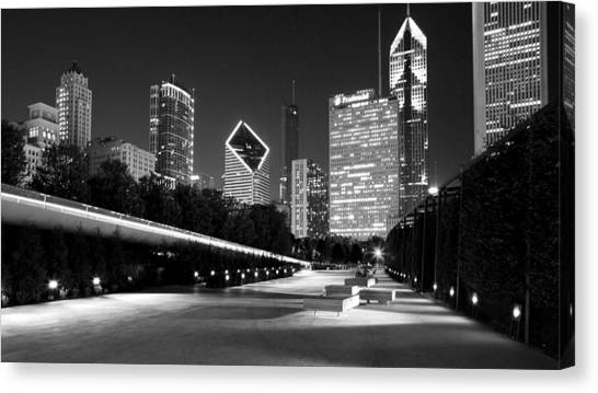 Chicago Night Skyline Black White Canvas Print
