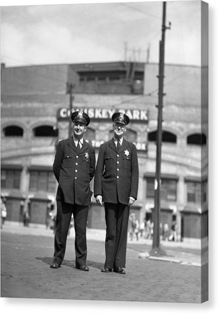 Braces Canvas Print - Chicago Officers At Comiskey by Retro Images Archive