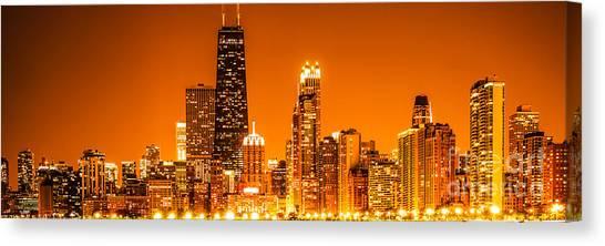 Hancock Building Canvas Print - Chicago Panorama Skyline At Night Orange Tone by Paul Velgos