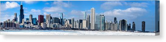 Chicago Panoramic Skyline Shot 2-16-14 Canvas Print by Michael  Bennett