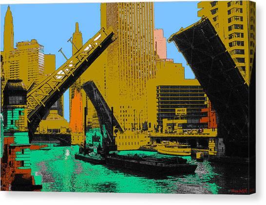 Artist Canvas Print - Chicago Pop Art 66 - Downtown Draw Bridges by Art America Gallery Peter Potter