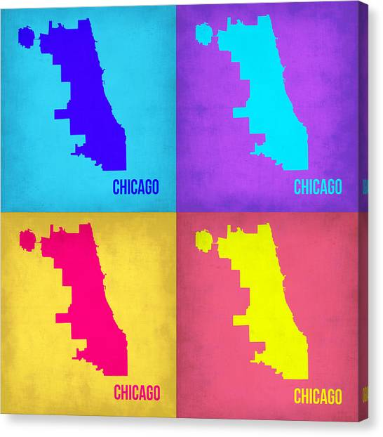 University Of Illinois Canvas Print - Chicago Pop Art Map 1 by Naxart Studio