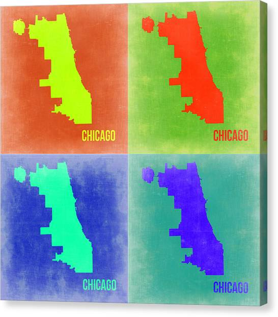 University Of Illinois Canvas Print - Chicago Pop Art Map 2 by Naxart Studio