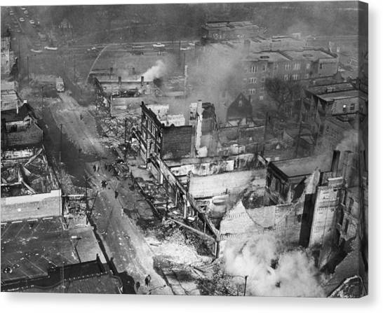 Chicago Fire Canvas Print - Chicago Race Riot Burning by Underwood Archives