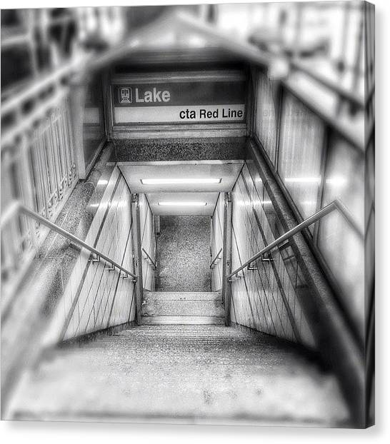 Red Canvas Print - Chicago Lake Cta Red Line Stairs by Paul Velgos