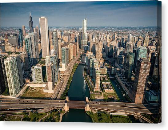 City Sunrises Canvas Print - Chicago River Aloft by Steve Gadomski