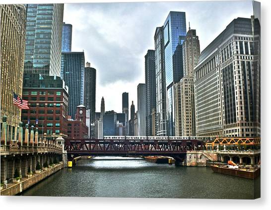 Soldier Field Canvas Print - Chicago River And City by Frozen in Time Fine Art Photography
