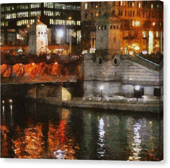 Jeff Kolker Canvas Print - Chicago River At Michigan Avenue by Jeffrey Kolker