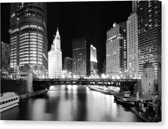 Chicago River Bridge Skyline Black White Canvas Print