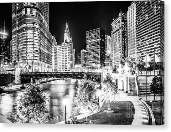 Hancock Building Canvas Print - Chicago River Buildings At Night In Black And White by Paul Velgos