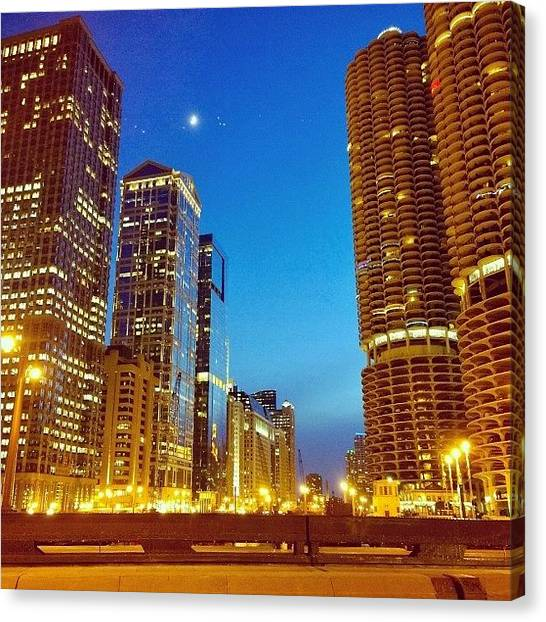 Sears Tower Canvas Print - Chicago River Buildings At Night Taken by Paul Velgos