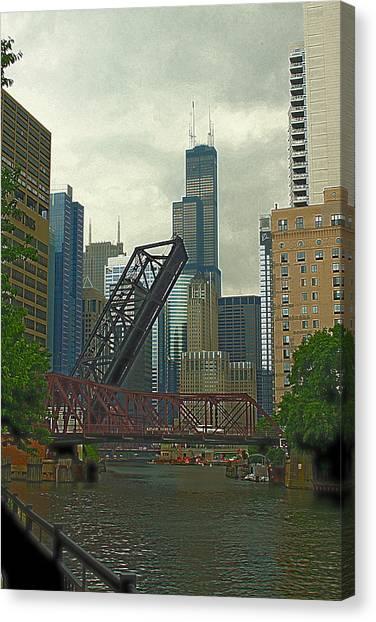 Chicago River Near Kinzie Canvas Print by Greg Thiemeyer