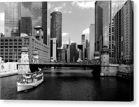Chicago River Skyline Bridge Boat Canvas Print