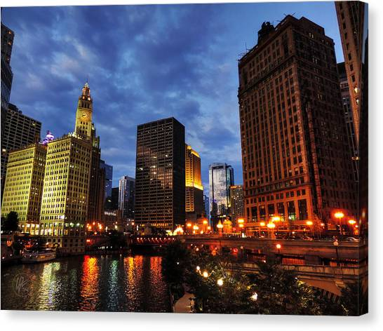 Bridge Canvas Print - Chicago River Twilight 002 by Lance Vaughn