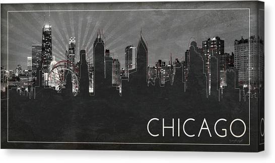 Chicago Black White Canvas Print - Chicago Silhouette by Jennifer Pugh