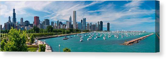 Marinas Canvas Print - Chicago Skyline Daytime Panoramic by Adam Romanowicz