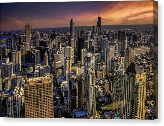 City Sunsets Canvas Print - Chicago Skyline by Alexander Hill