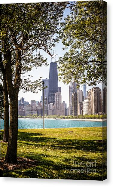 Hancock Building Canvas Print - Chicago Skyline And Hancock Building Through Trees by Paul Velgos