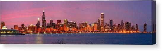 City Sunset Canvas Print - Chicago Skyline At Dusk 2008 Panorama by Jon Holiday