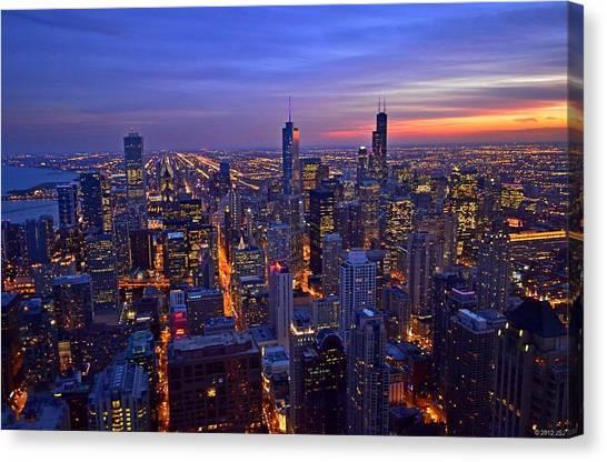 Chicago Skyline At Dusk From John Hancock Signature Lounge Canvas Print