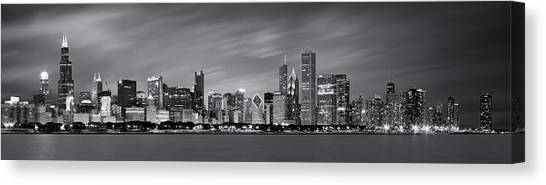 Lake Michigan Canvas Print - Chicago Skyline At Night Black And White Panoramic by Adam Romanowicz