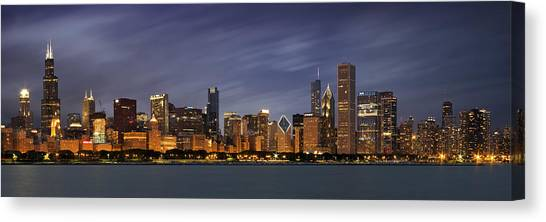 Lake Michigan Canvas Print - Chicago Skyline At Night Color Panoramic by Adam Romanowicz