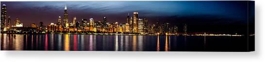 Chicago Skyline At Night Panoramic Canvas Print