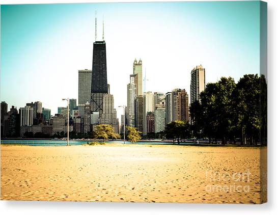 Hancock Building Canvas Print - Chicago Skyline At North Avenue Beach Photo by Paul Velgos