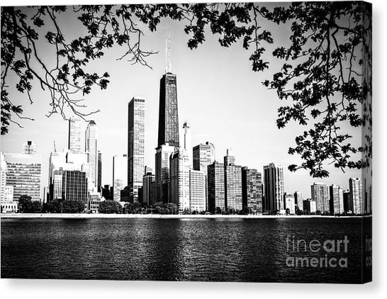 Hancock Building Canvas Print - Chicago Skyline Black And White Picture by Paul Velgos