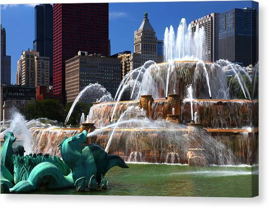 Chicago Skyline Grant Park Fountain Canvas Print