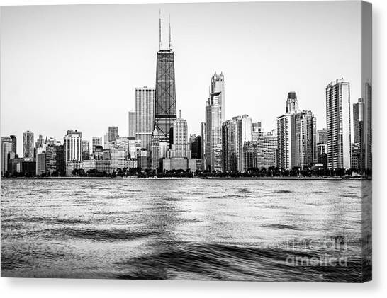 Hancock Building Canvas Print - Chicago Skyline Hancock Building Black And White Photo by Paul Velgos