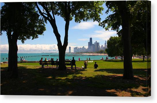 Chicago Skyline Lakefront Park Canvas Print