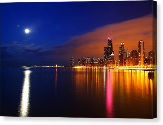 Chicago Skyline Moonlight Canvas Print