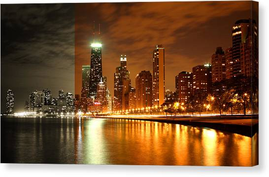 Chicago Skyline Night Amber Canvas Print