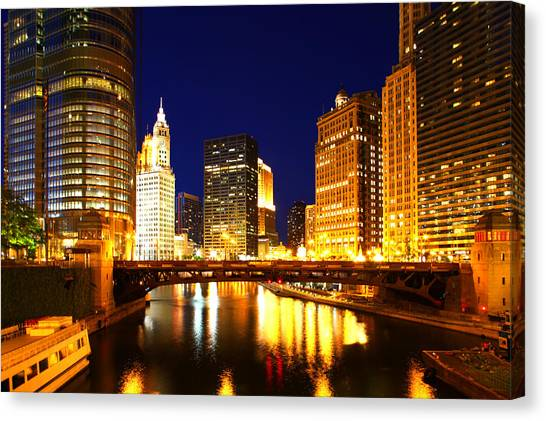 Chicago Skyline Night River Canvas Print