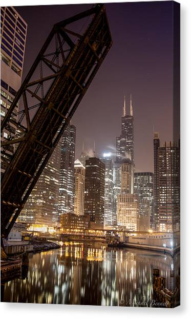 Chicago Skyline Over Chicago River Canvas Print