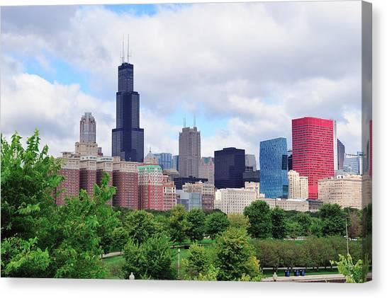 Chicago Skyline Over Park Canvas Print