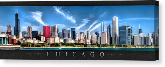 Chicago Skyline Panorama Poster Canvas Print