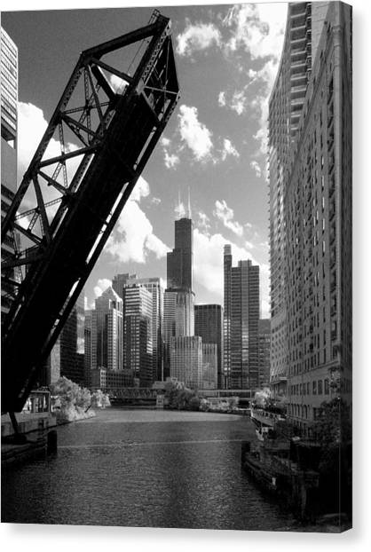 Chicago-skyline-raised Bridge Black White Canvas Print