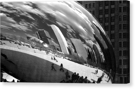 Chicago Skyline Reflected Bean Canvas Print